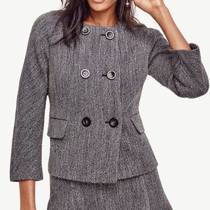 Ann Taylor Gray Mod Double Breasted Jacket
